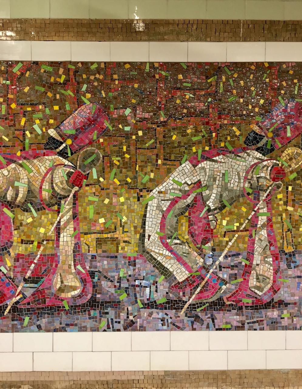"""Parade"" mosaic mural by Derek Fordjour"