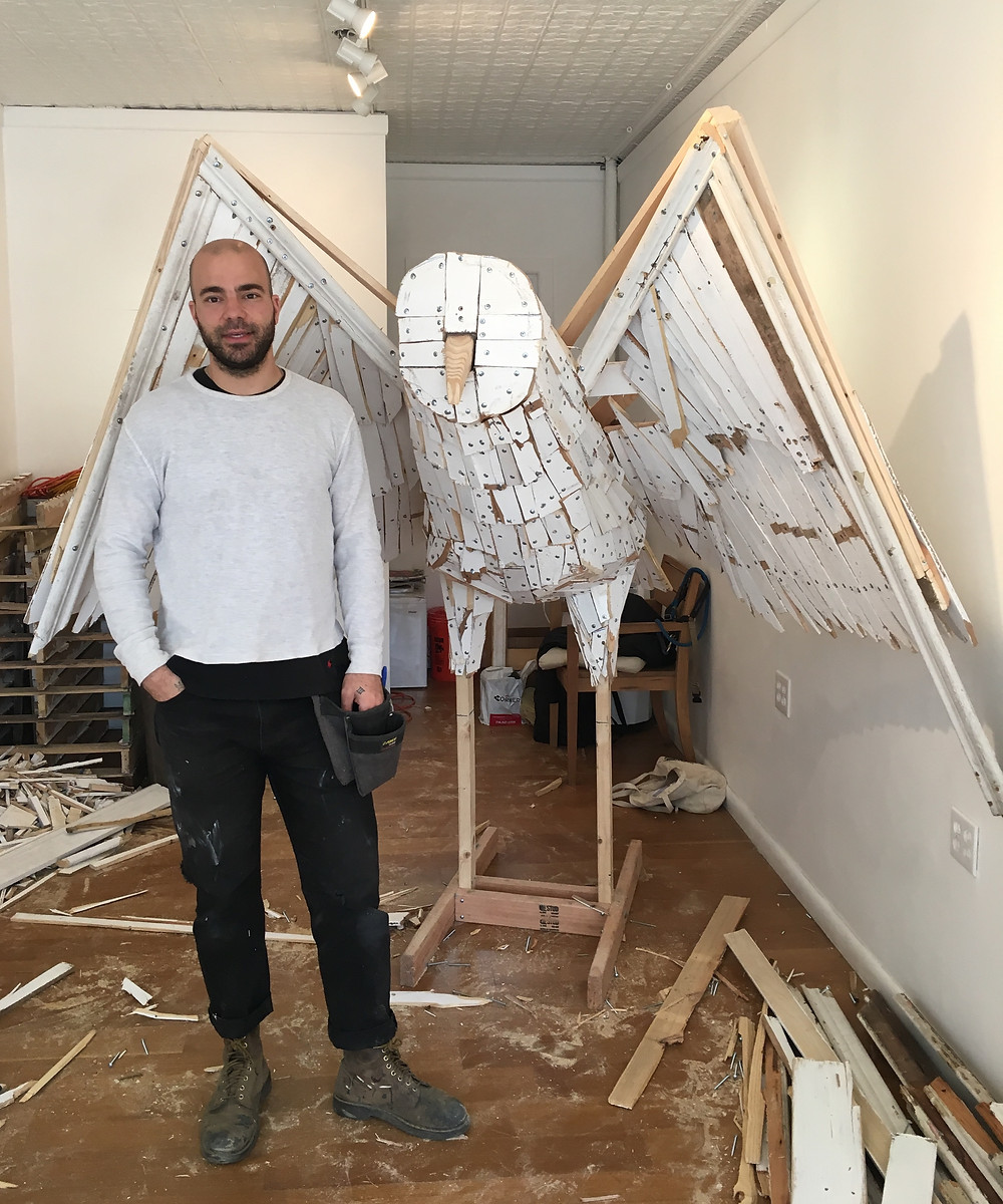 Nicolas Holiber's snowy owl sculpture for the Audubon Sculpture Project