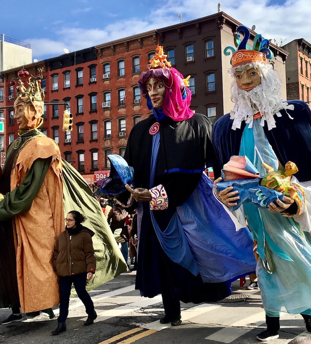 El Museo's giant puppets at last year's Three Kings Day parade.