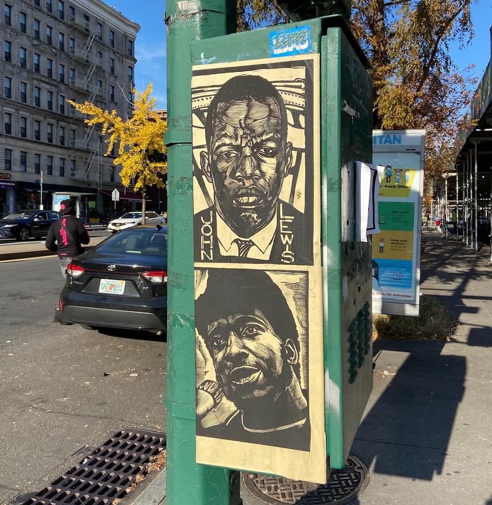 Election year street art in Harlem: Linocut prints of Georgia Congressman John Lewis, Black Panthers leader Fred Hampton