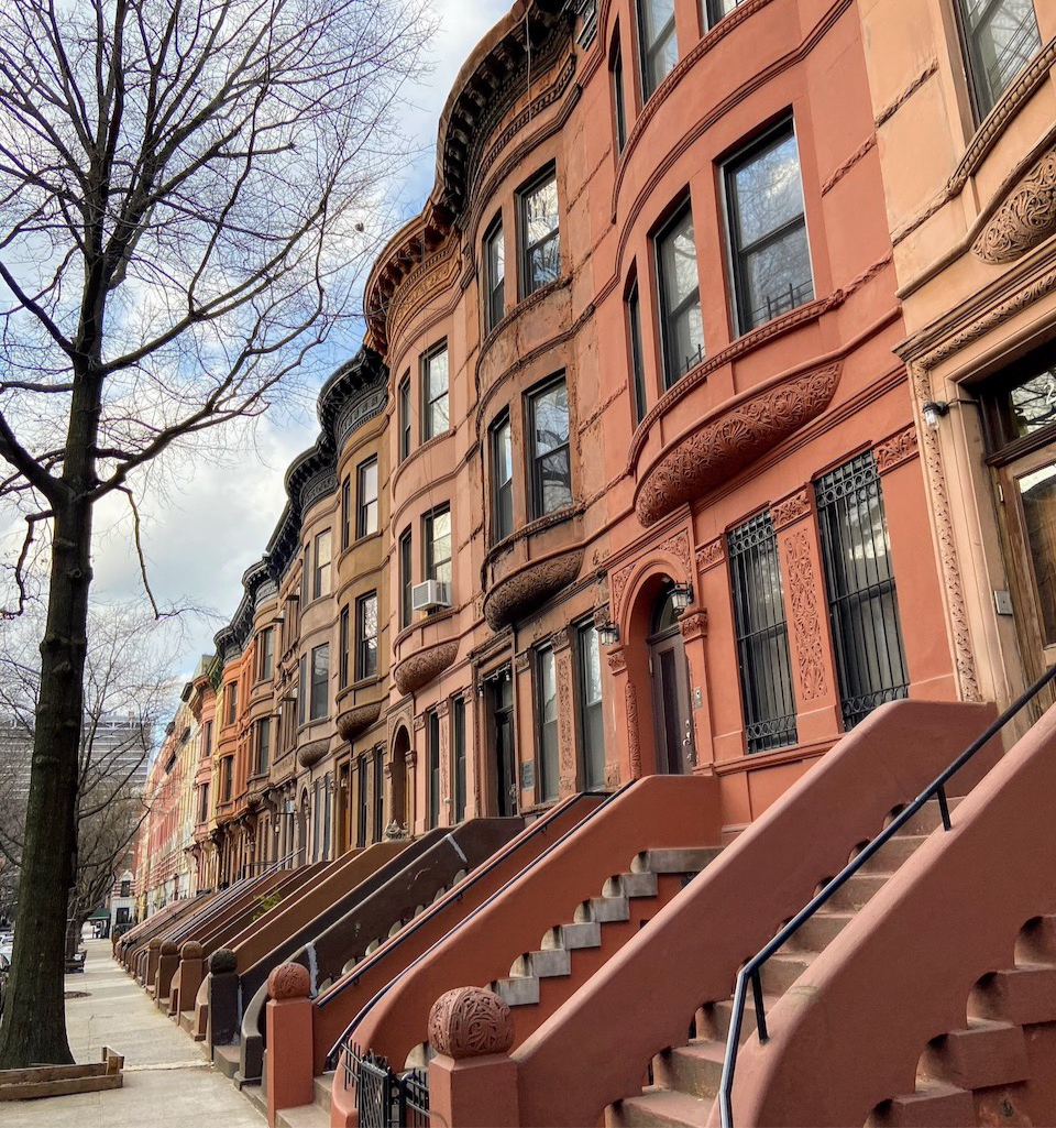 Renaissance Revival row houses line W 137th Street in the proposed Dorrance Brooks Square Historic District