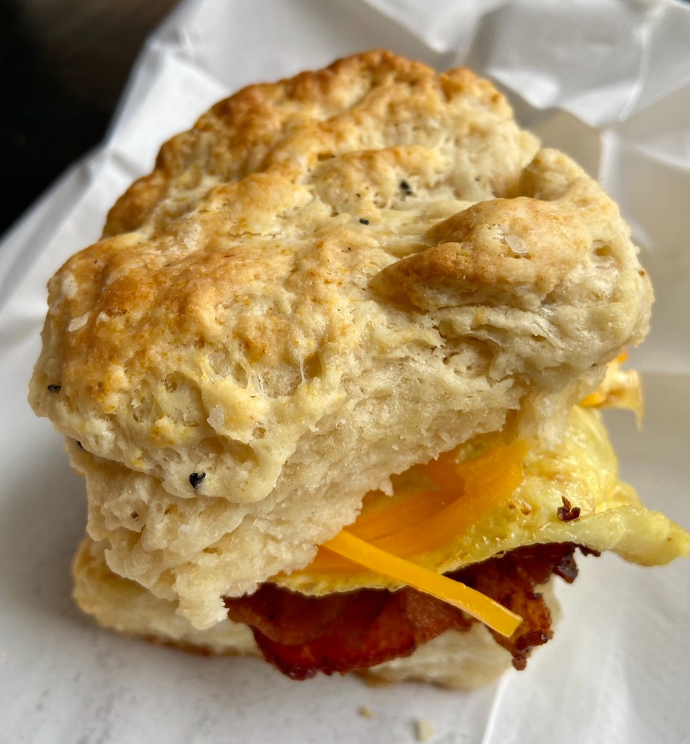 The Bodega bacon, egg and cheese biscuit sandwich from Harlem Biscuit Company.