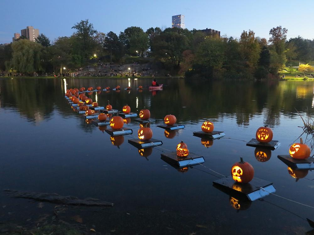 The Halloween Pumpkin Flotilla at the Harlem Meer