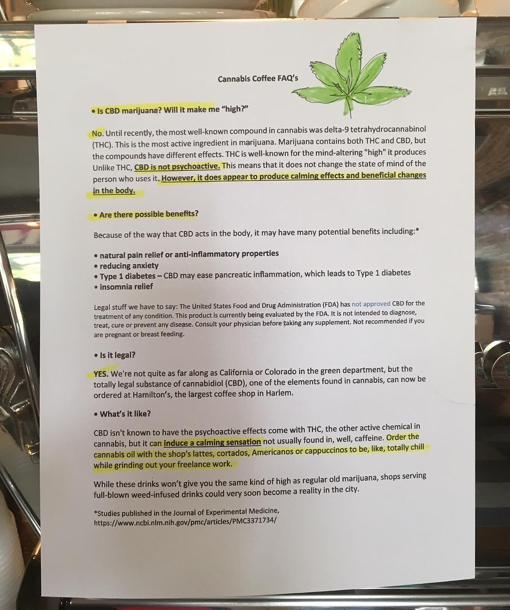 Cannabis Coffee FAQs at Hamilton's in Harlem
