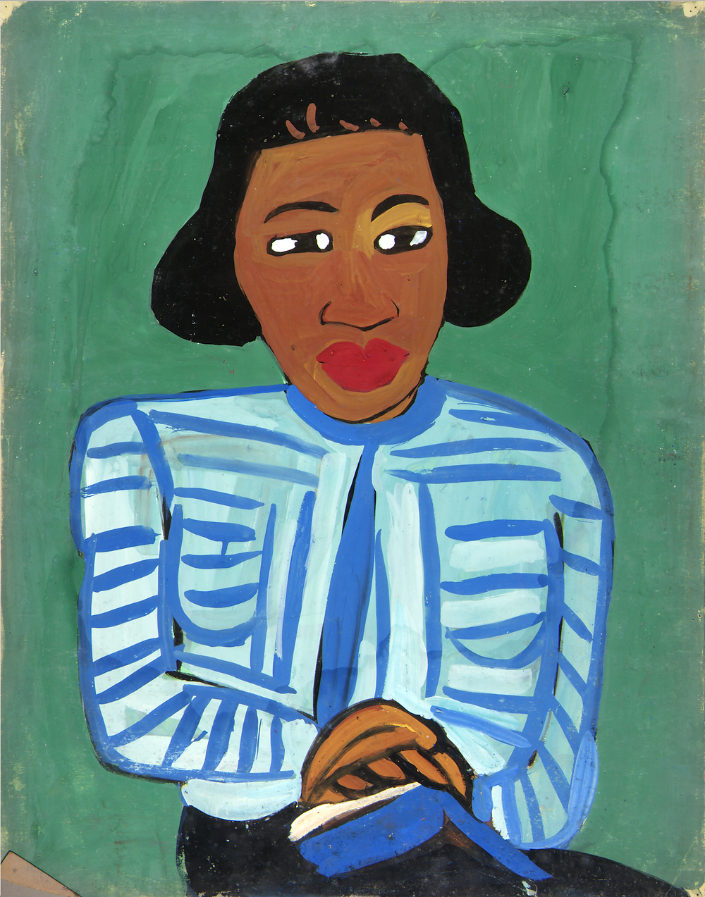 William H. Johnson, Portrait of Woman with Blue and White Striped Blouse, on view at the Wallach Art Gallery