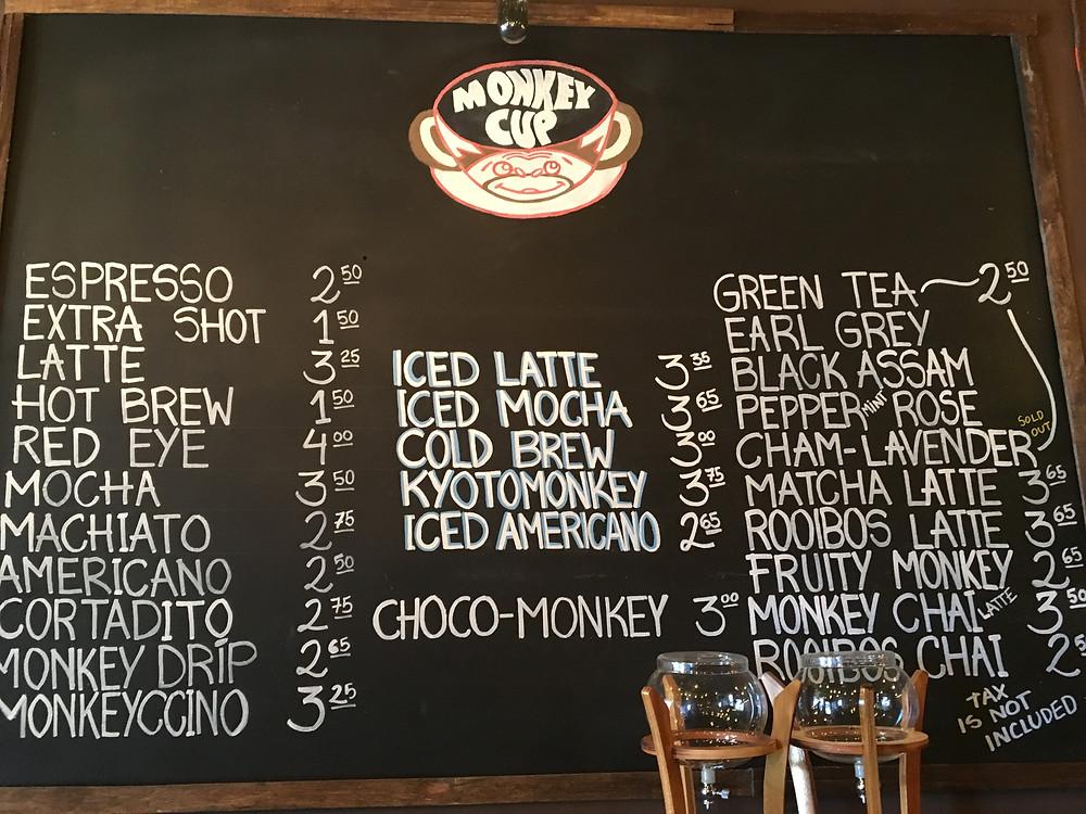 The Monkey Cup menu