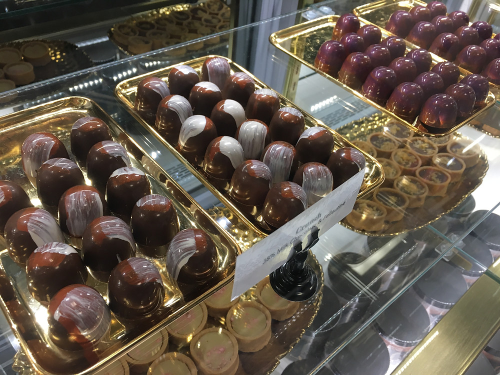Color-splashed truffles at Harlem Chocolate Factory