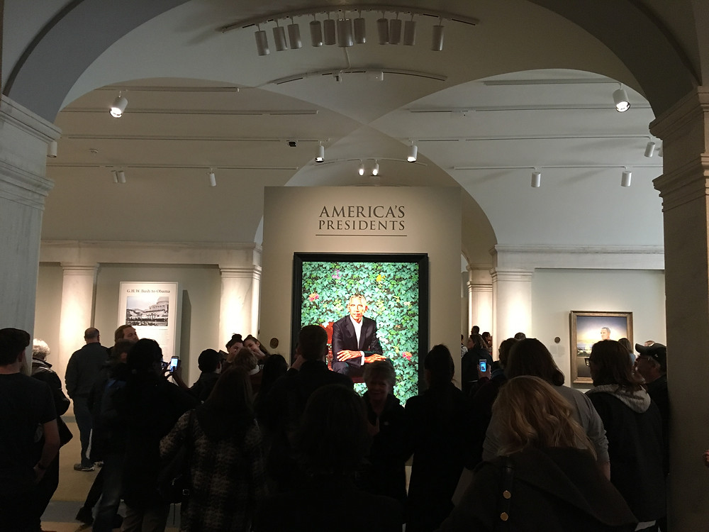 The crowds in front of Barack Obama's portrait at the National Portrait Gallery