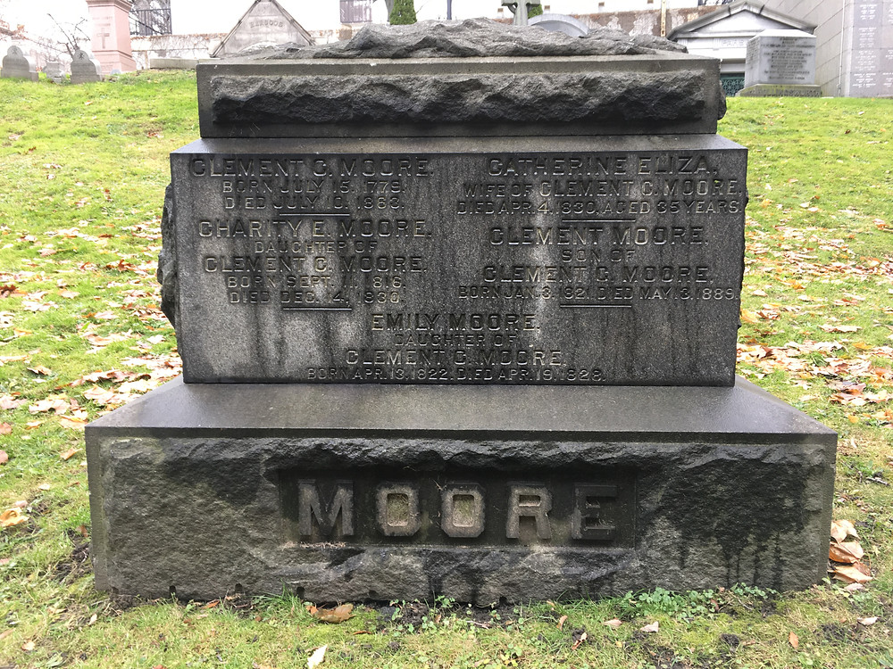 The grave of Clement Clarke Moore at Trinity Church Cemetery