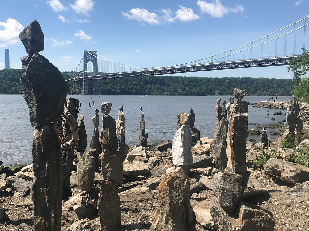 The Sisyphus Stones in front of the George Washington Bridge