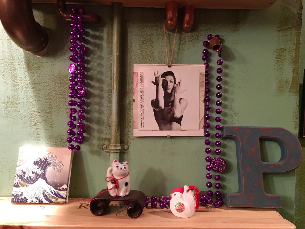 A mini shrine to Prince at Chopped Parsley in Harlem