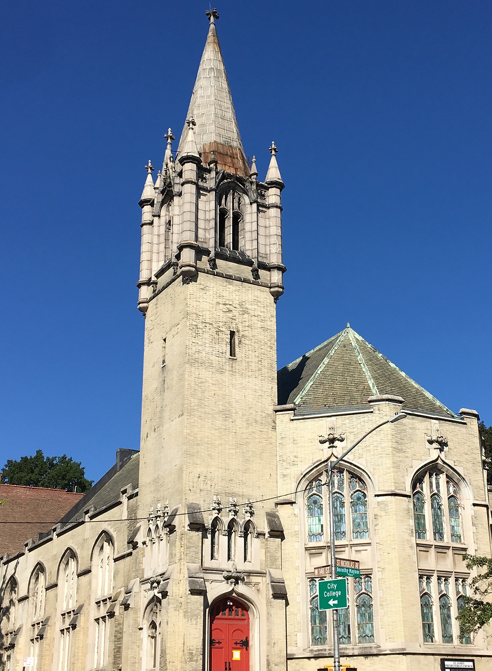 The tower of St. James Presbyterian Church looks straight out of Hogwarts