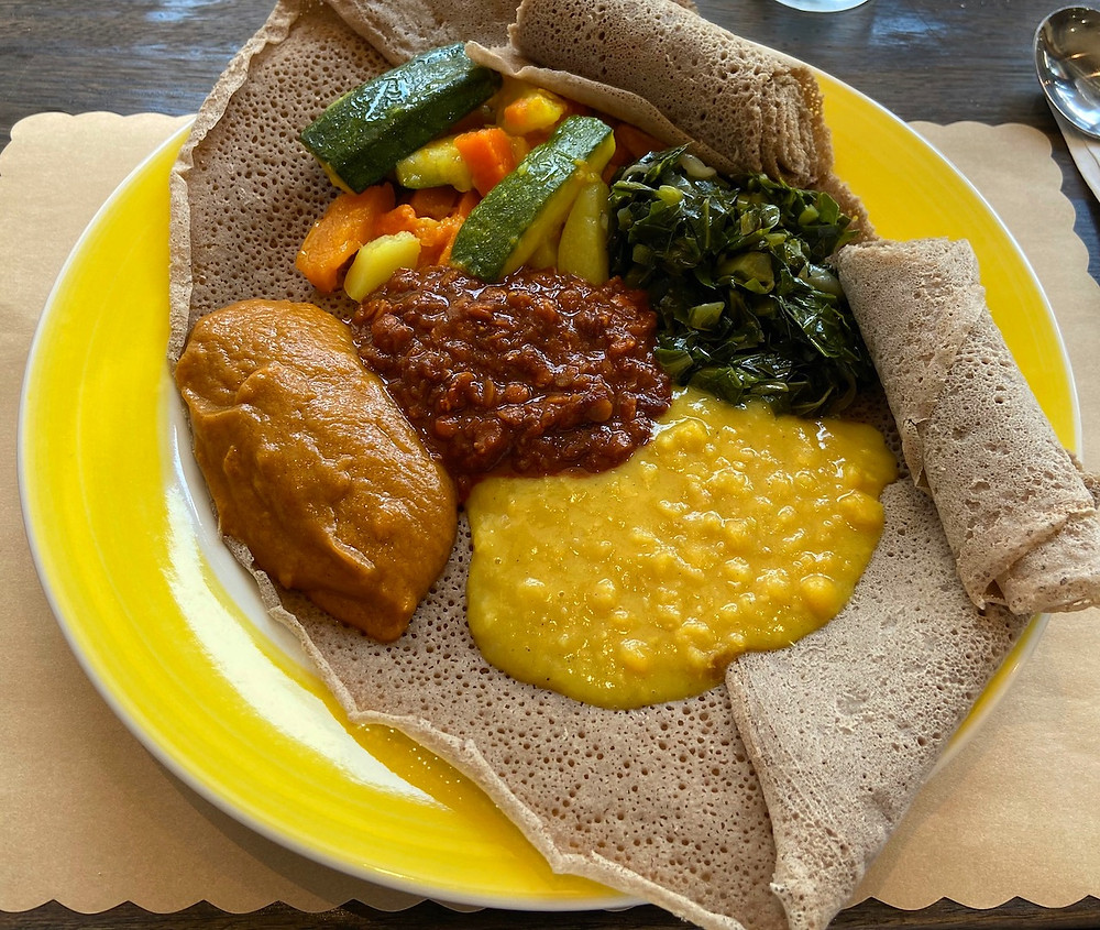 The Ethiopian plate is on the special NYC Restaurant Week menu at Buunni Inwood.