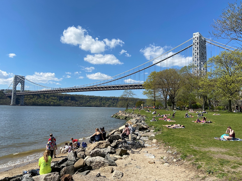 The northern part of Riverside Park stretches up to the George Washington Bridge.