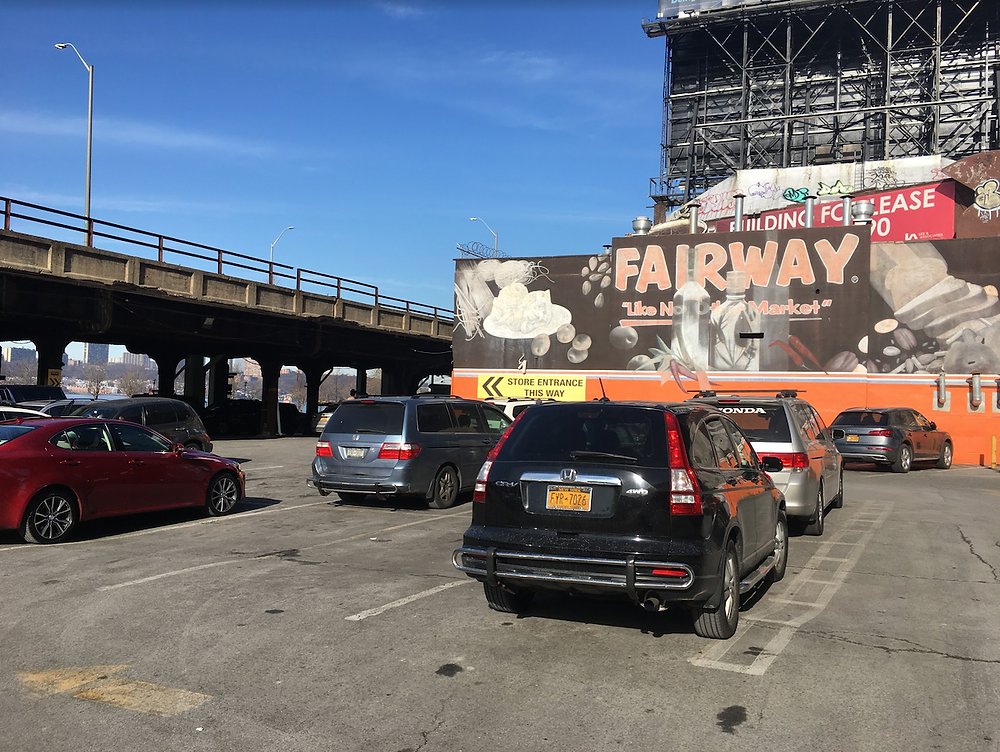 The parking lot of the Fairway in Harlem