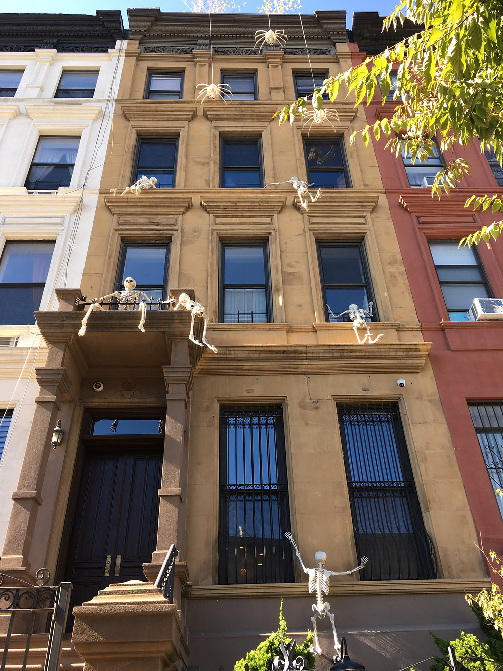 Skeletons climb up this brownstone on Fifth Avenue in Harlem