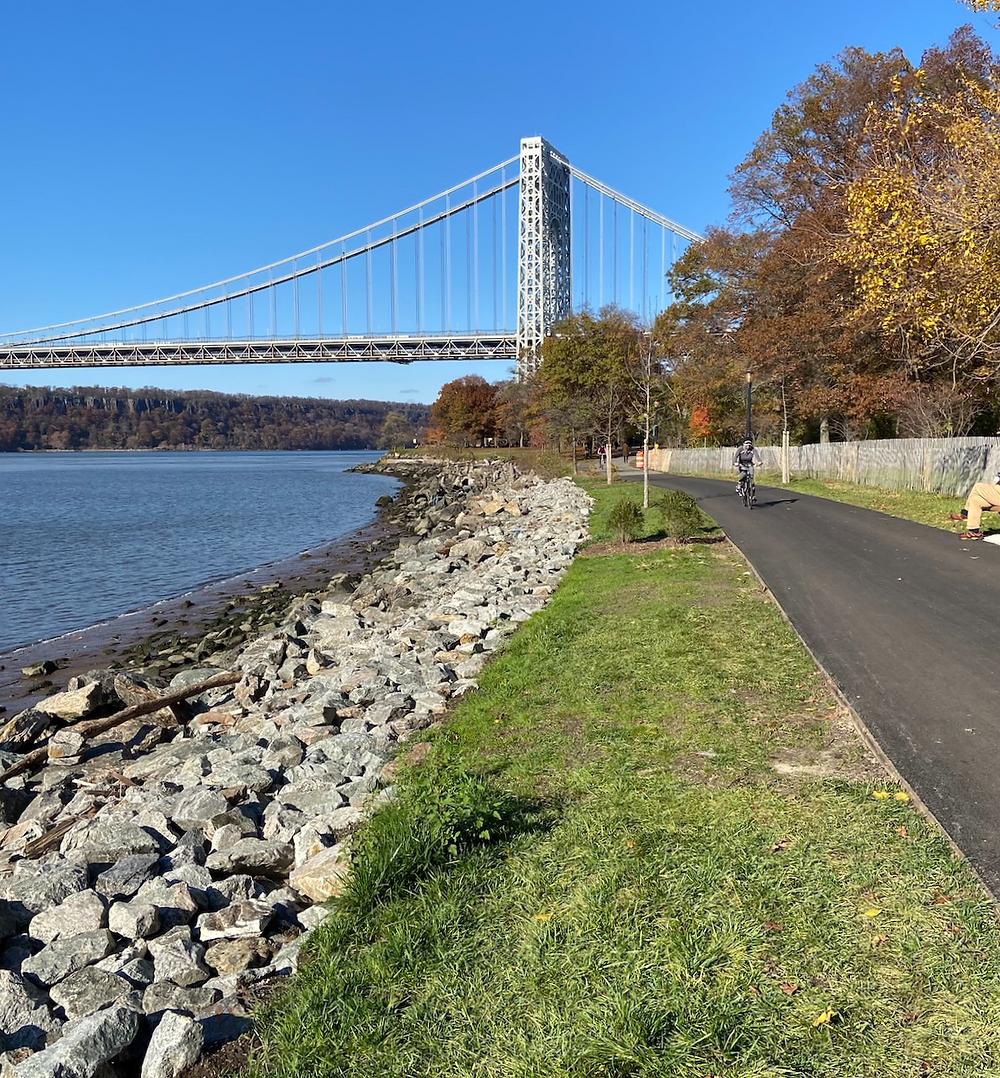 the newly reconstructed waterfront pathway in Fort Washington Park