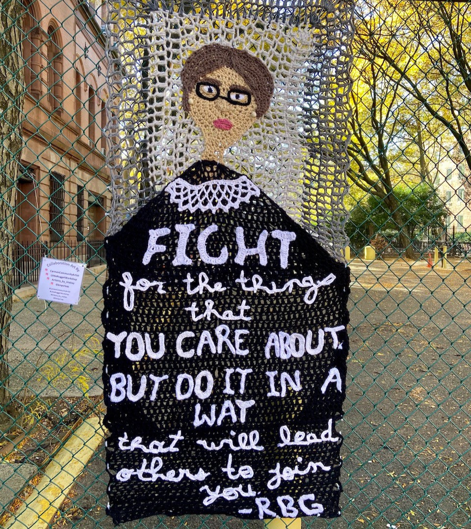 Election year street art in Harlem: Yarn bomb portrait of Ruth Bader Ginsburg by Carmen Community Artist and others