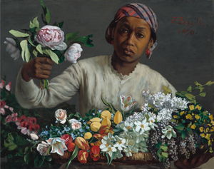 Frédéric Bazille, Young Woman with Peonies, on view at the Wallach Art Gallery