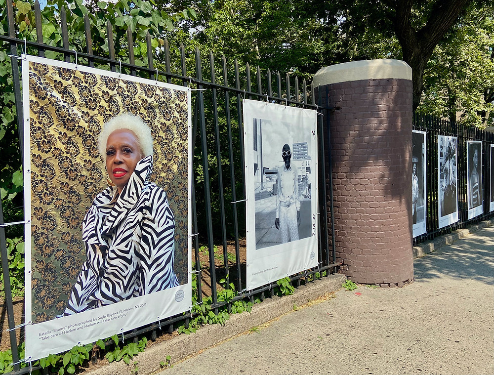 The Faces of Harlem photo exhibit in Jackie Robinson Park.
