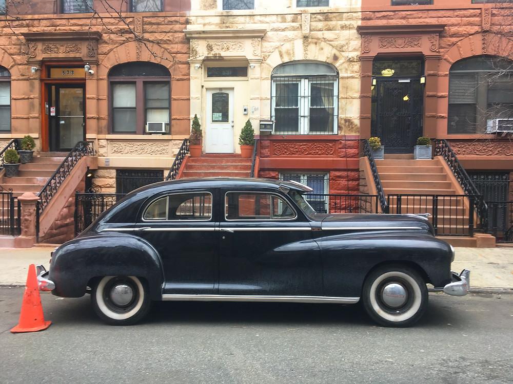 A vintage car on the Motherless Brooklyn set