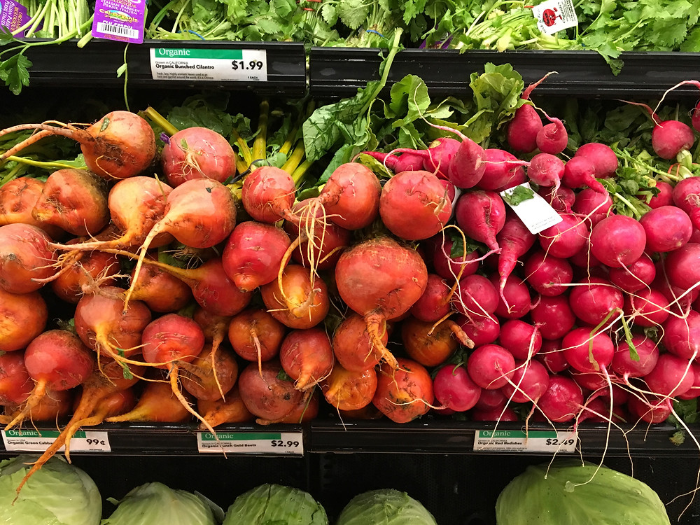 Beets and radishes at Whole Foods in Harlem