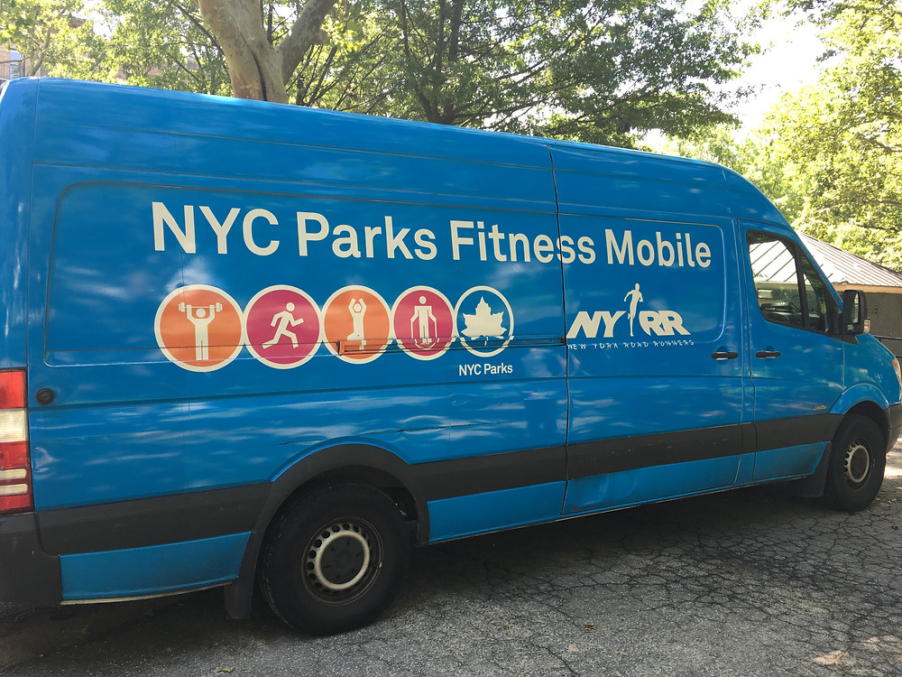 The NYC Parks Fitness Mobile in St. Nicholas Park
