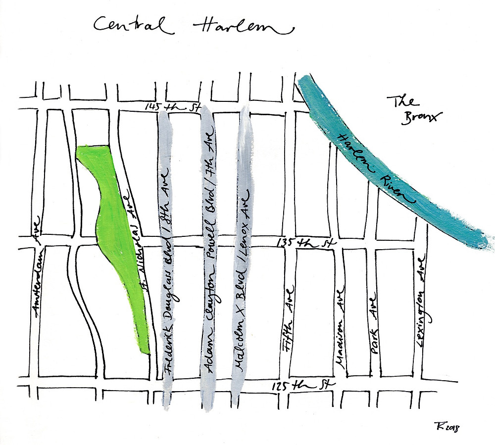 Illustrated map of Harlem