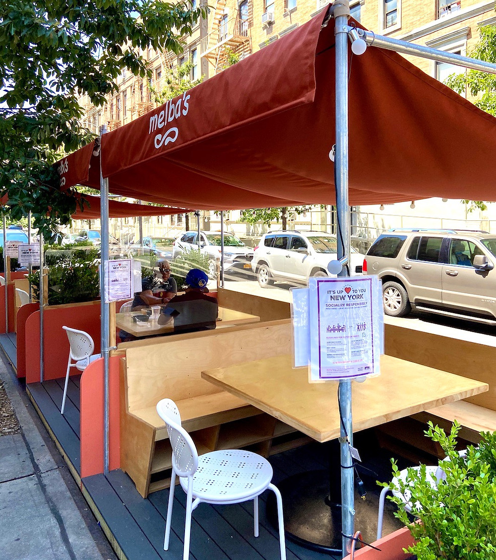 Melba's outdoor seating designed by the Rockwell Group.