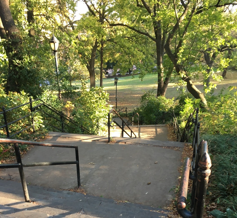 Stairs running along the recently-renamed James Baldwin Lawn in St. Nicholas Park.