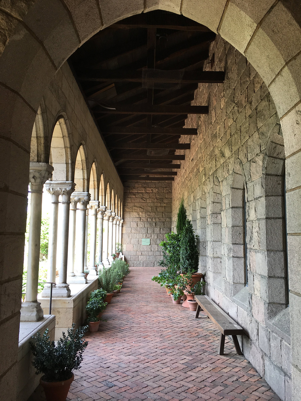 The arcaded walkway that leads to the Met Cloister's Bonnefont Cloister garden