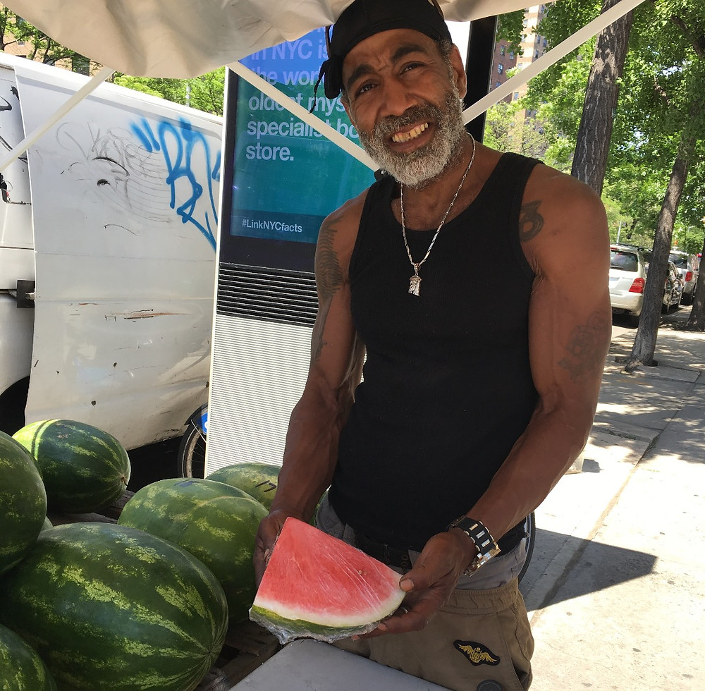 Rich, a Harlem watermelon vendor on Seventh Avenue