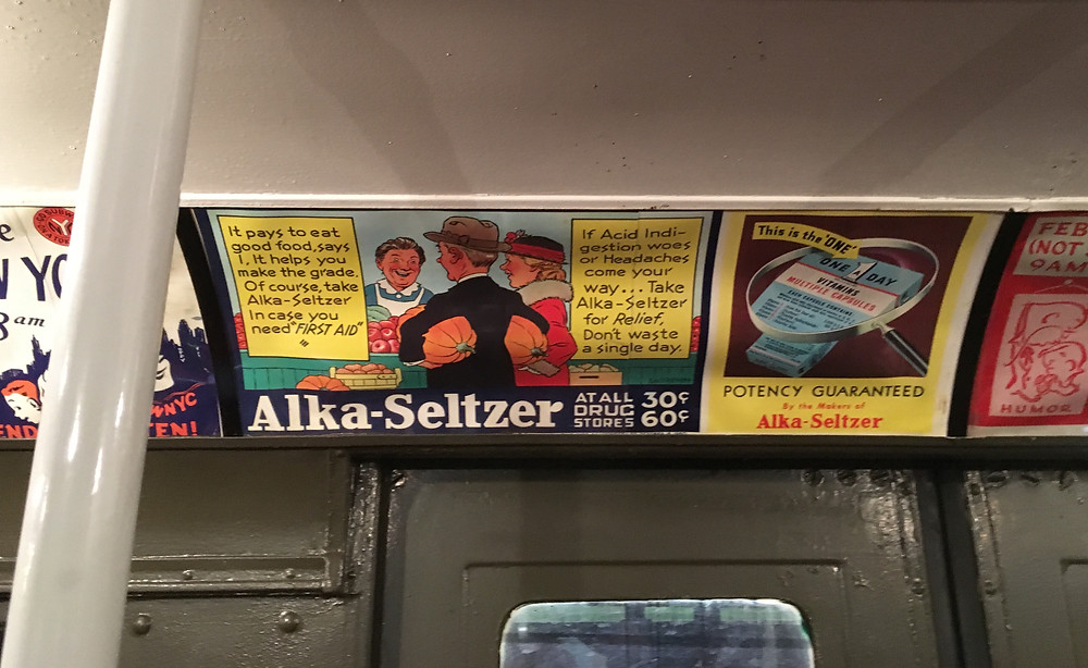 Vintage ads on the MTA's holiday nostalgia rides