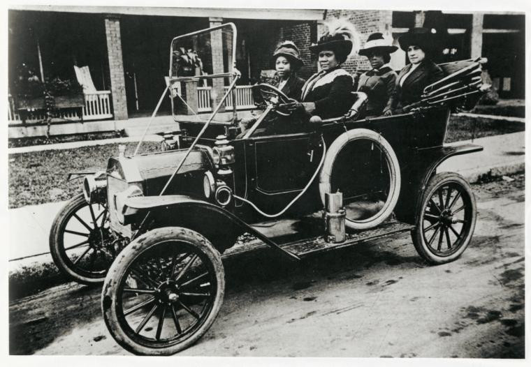 Madam C.J. Walker; her niece Anjetta Breedlove; Alice Kelly; and Walker Company bookkeeper Lucy Flint in 1911