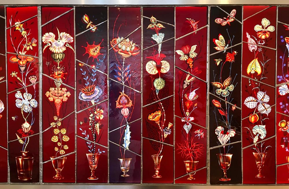Cross Pollination, a stained glass work by artist Judith Schaechter