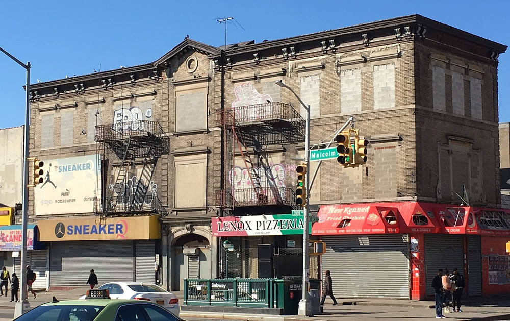 695 Lenox Avenue, the building that once housed the Hotel Olga, in February 2019