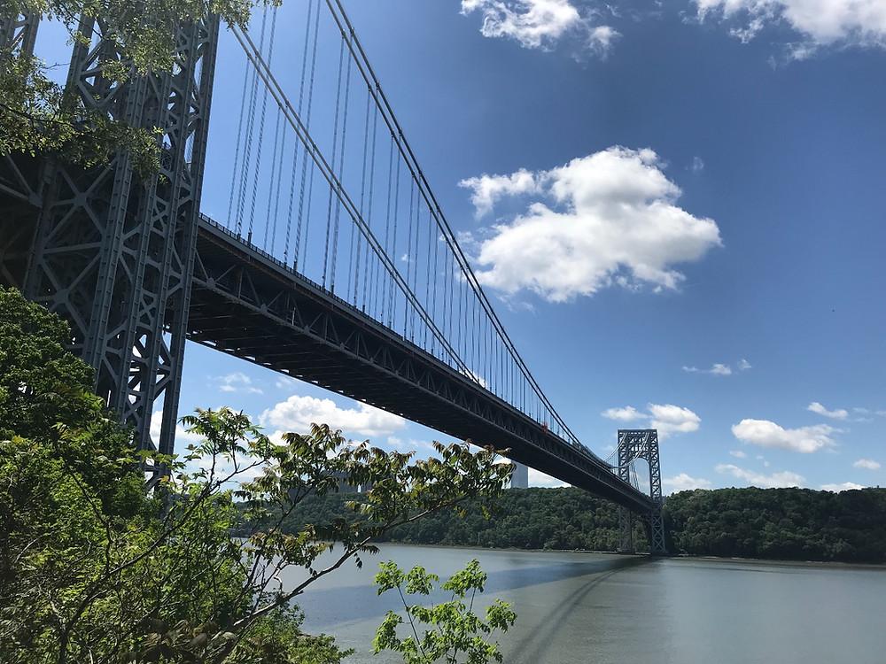 A close-up of the George Washington Bridge
