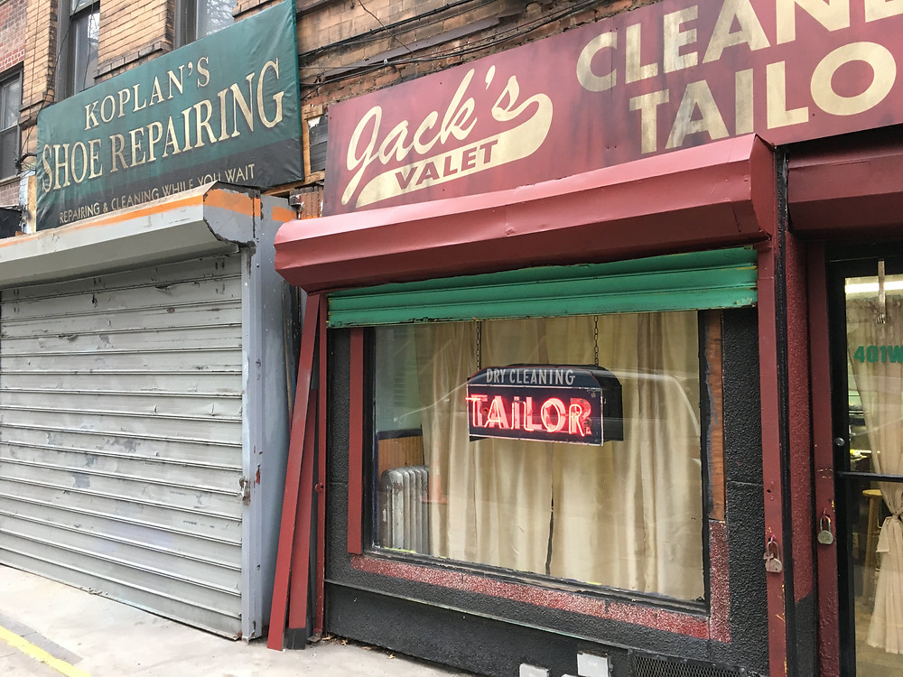 Period storefronts on the set of Motherless Brooklyn in Harlem