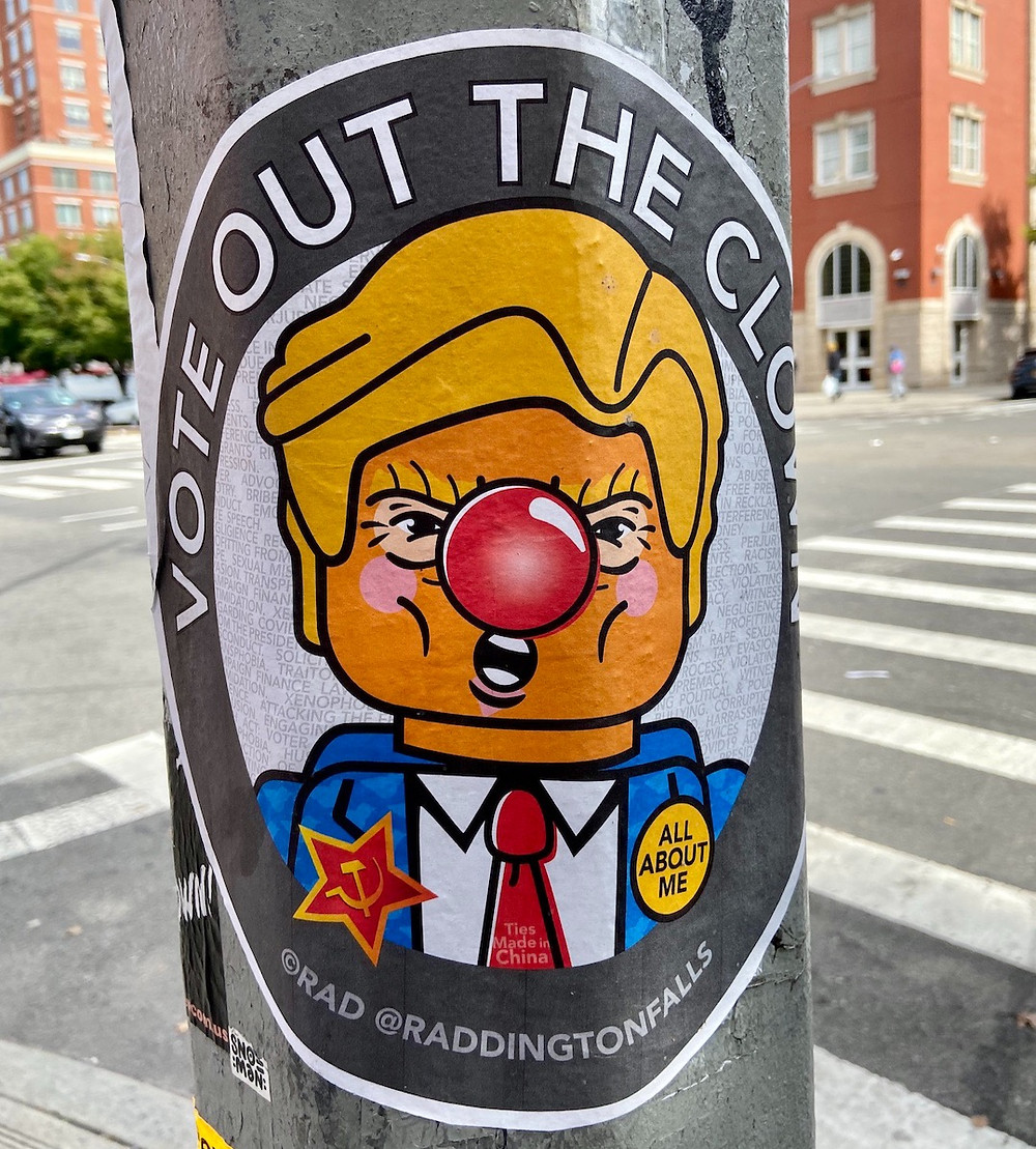 Election year street art in Harlem: Vote Out the Clown by Raddington Falls