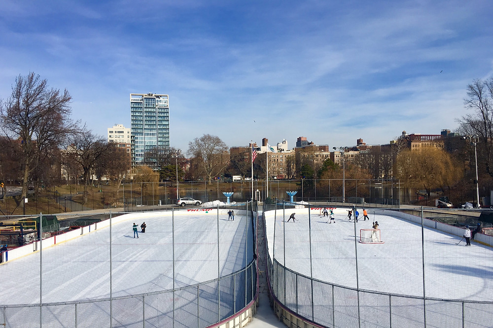Lasker Rink is comprised of twin ice skating rinks