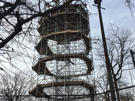 Harlem Fire Watchtower scaffolding is up and ready for the landmark's return