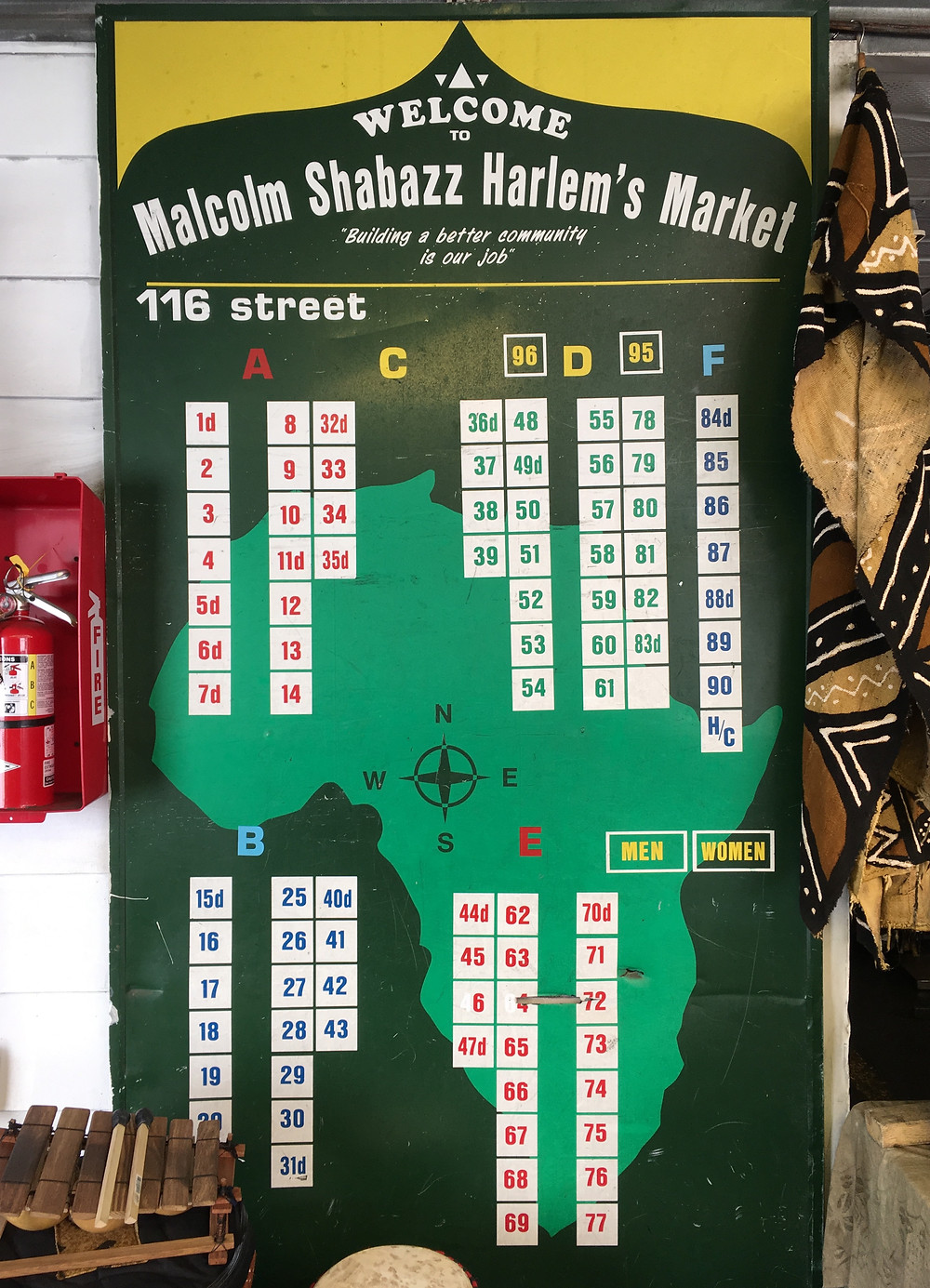 The map of booths at Malcolm Shabazz Harlem Market