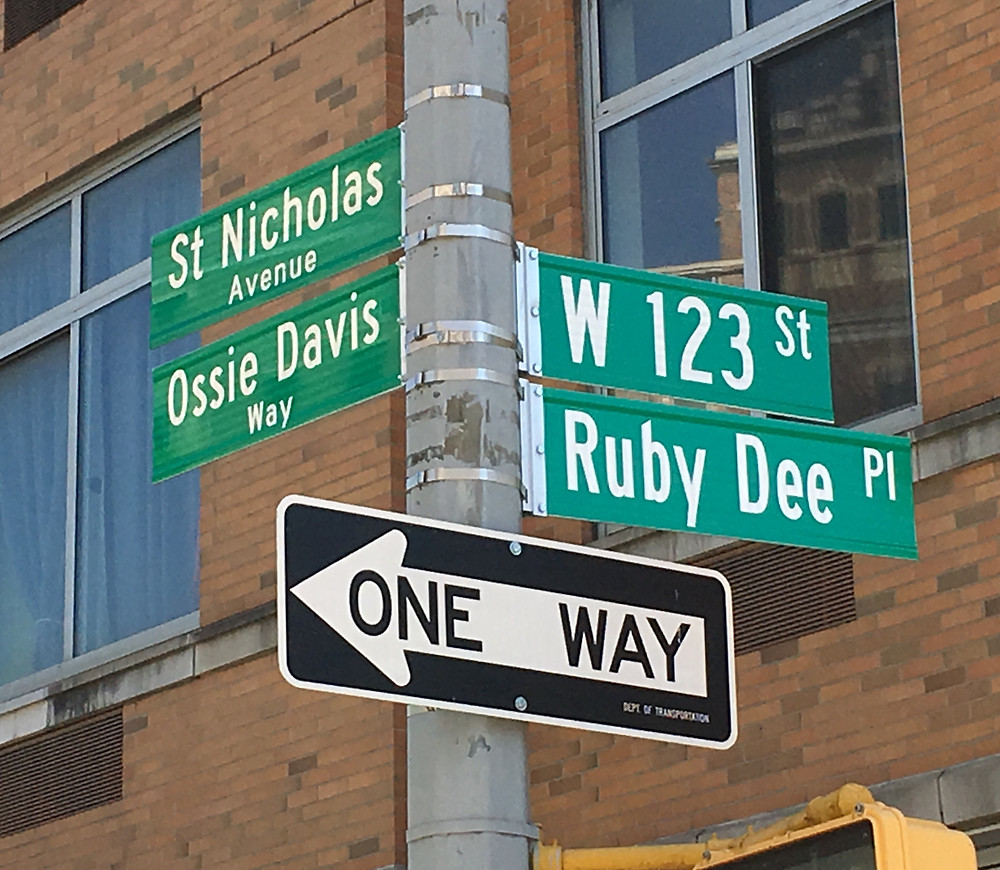 The corner of W 123rd Street and St. Nicholas Avenue was co-named Ruby Dee Place and Ossie Davis Way in April of 2019