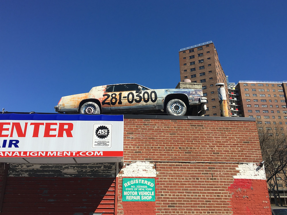 One of the remaining auto body shops in Manhattanville