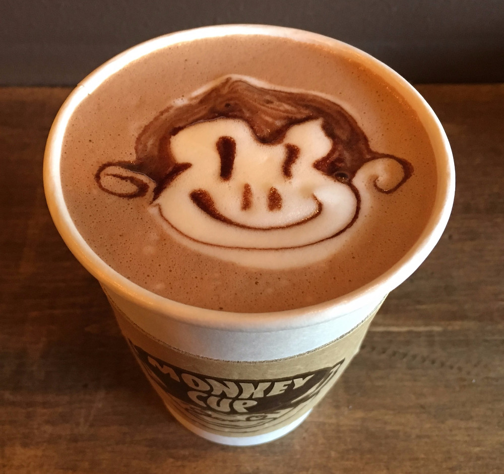 The hot chocolate at The Monkey Cup has the best art.