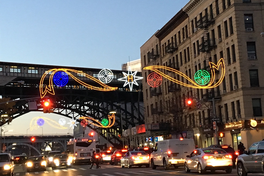 Harlem's holiday lights along 125th Street