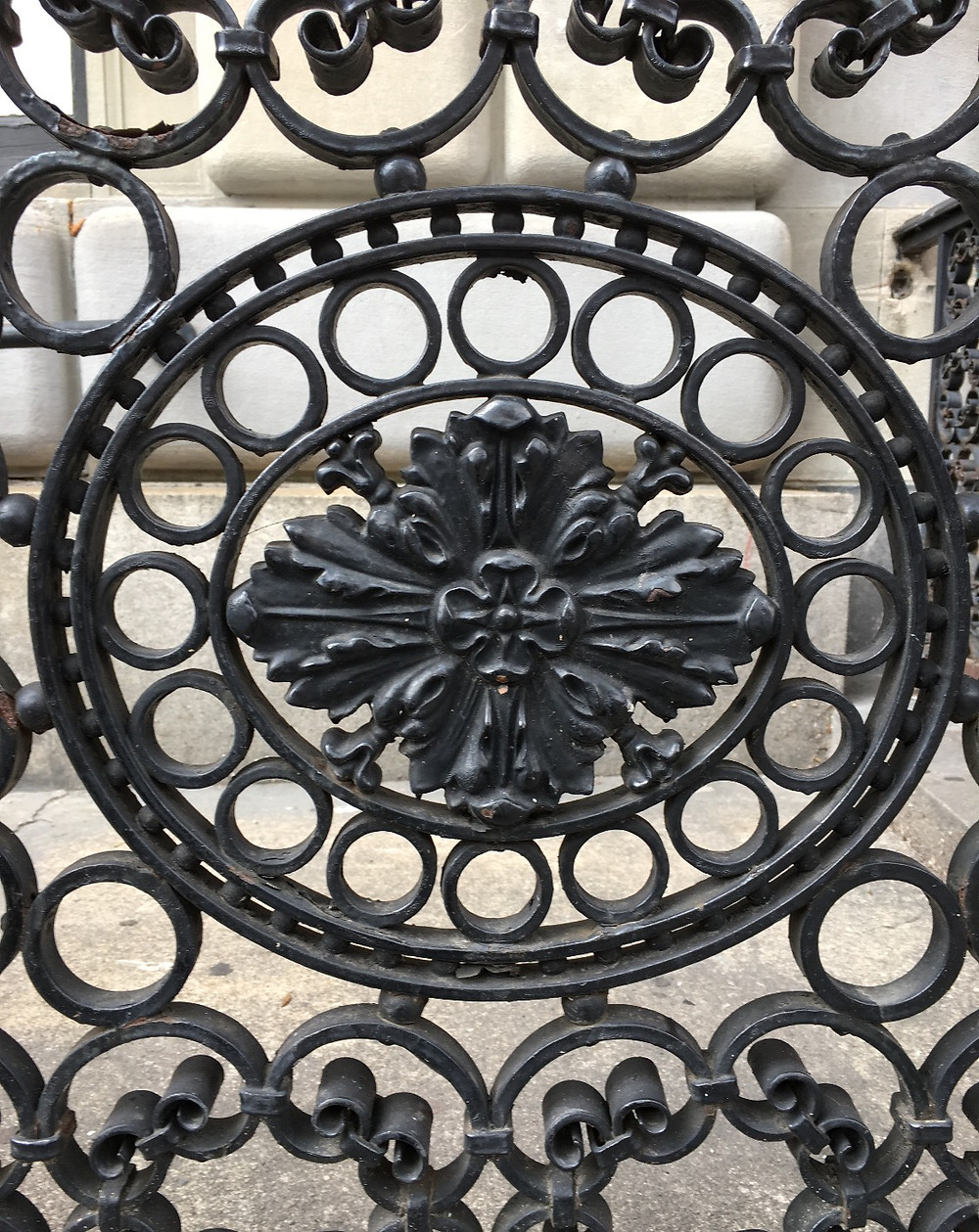 Lacy ironwork in front of NYPL's Hamilton Grange Branch