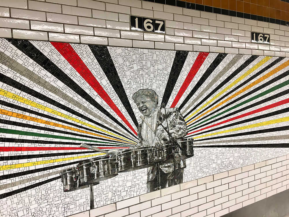 Rico Gatson's mosaic portrait of Tito Puente in the 167 St subway station