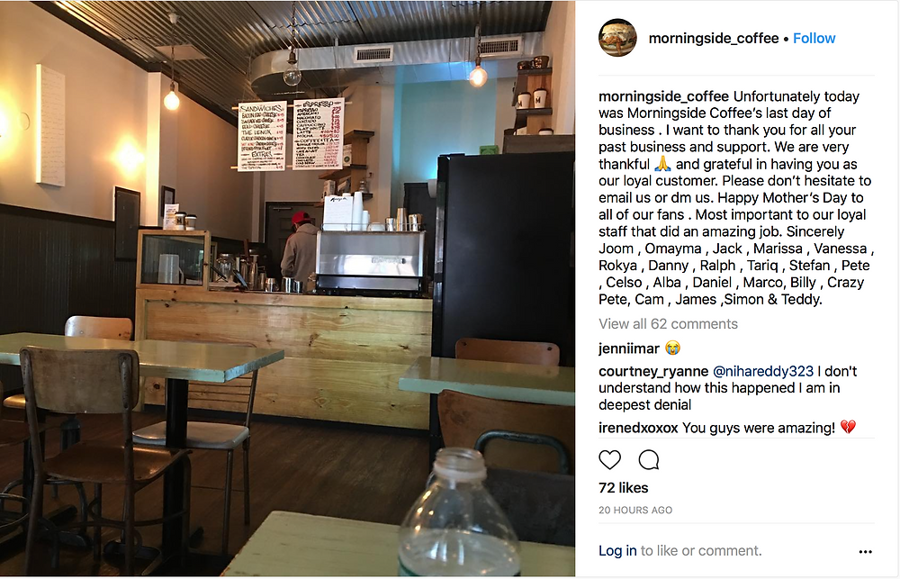 Morningside Coffee has closed