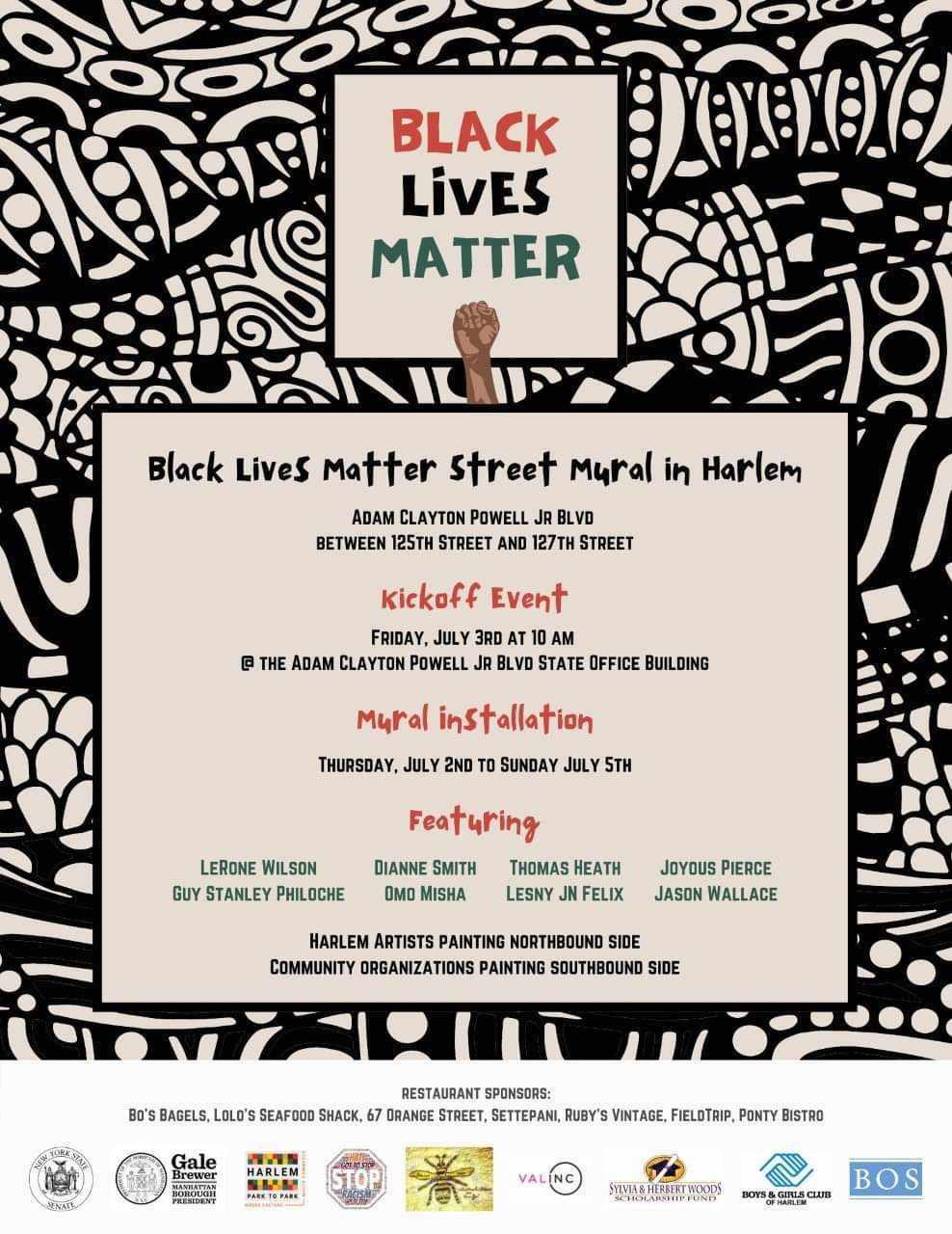 Harlem's Black Lives Matter street mural installation kicks off this Friday